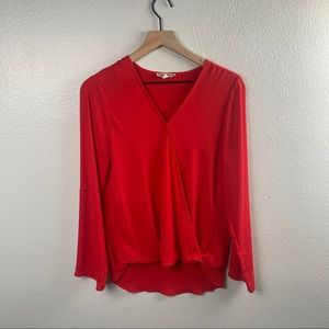 PLEIONE RED LONG SLEEVE CROSS FRONT BLOUSE